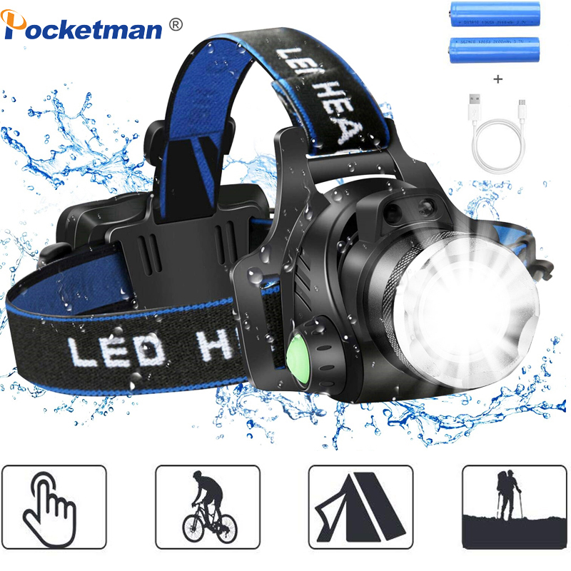 8000LM Head Lamp Motion Sensor 3 Modes Headlamp 90 Degree Bend Rechargeable Head Torch Waterproof Power By 2*18650 Battery