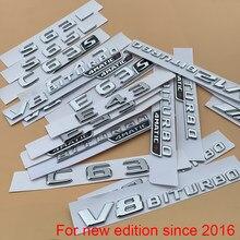Cromo carta número emblema para mercedes benz amg c43 c63 c63s e43 e53 e63s s65l v12 v8 biturbo 4 matic + tronco do carro fender adesivo