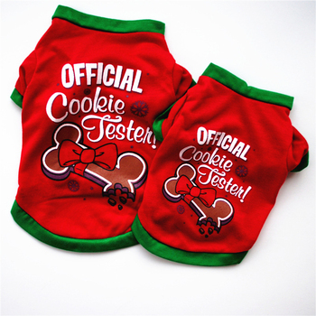 Christmas Dog Clothes New Year Puppy Dog Costume Cotton Pet Clothing For Small Medium Dogs Vest Shirt Chihuahua Pet Vest Shirt image