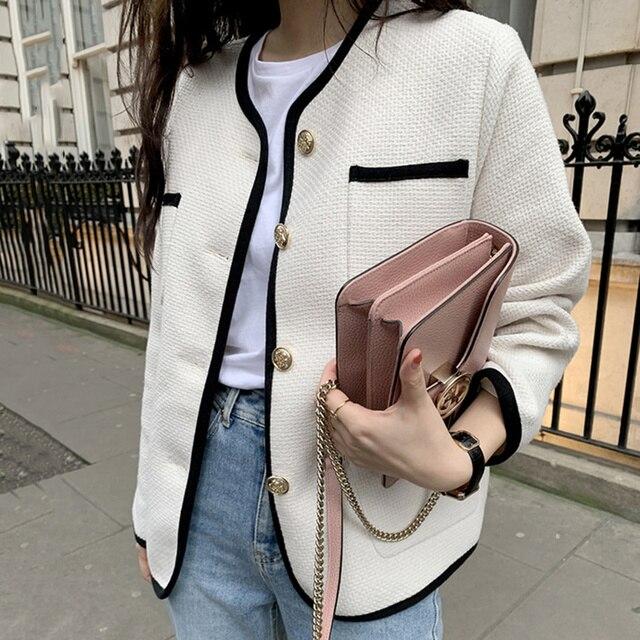 [EWQ] 2021 Autumn Casual New Female Round Neck Single Breasted Loose Panelled Short Jacket Tweed Cardigan Coat 8Y543 1