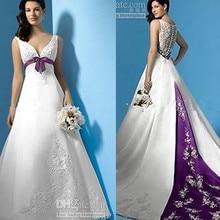 Ho Sale Empire Waist Beaded Appliques Satin A-Line White and Purple Custom Made Sbridal gown 2018