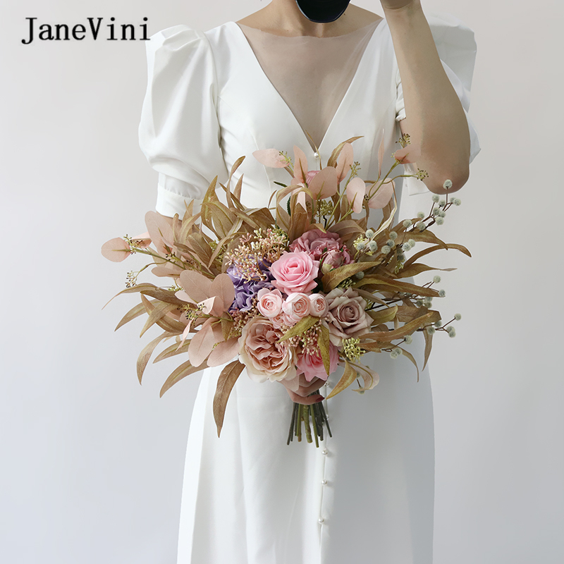 JaneVini Vintage Pink Wedding Hand Bouquet Flower for Bride Artificial Silk Roses Real Touch Autumn Wedding Bouquets Accessories