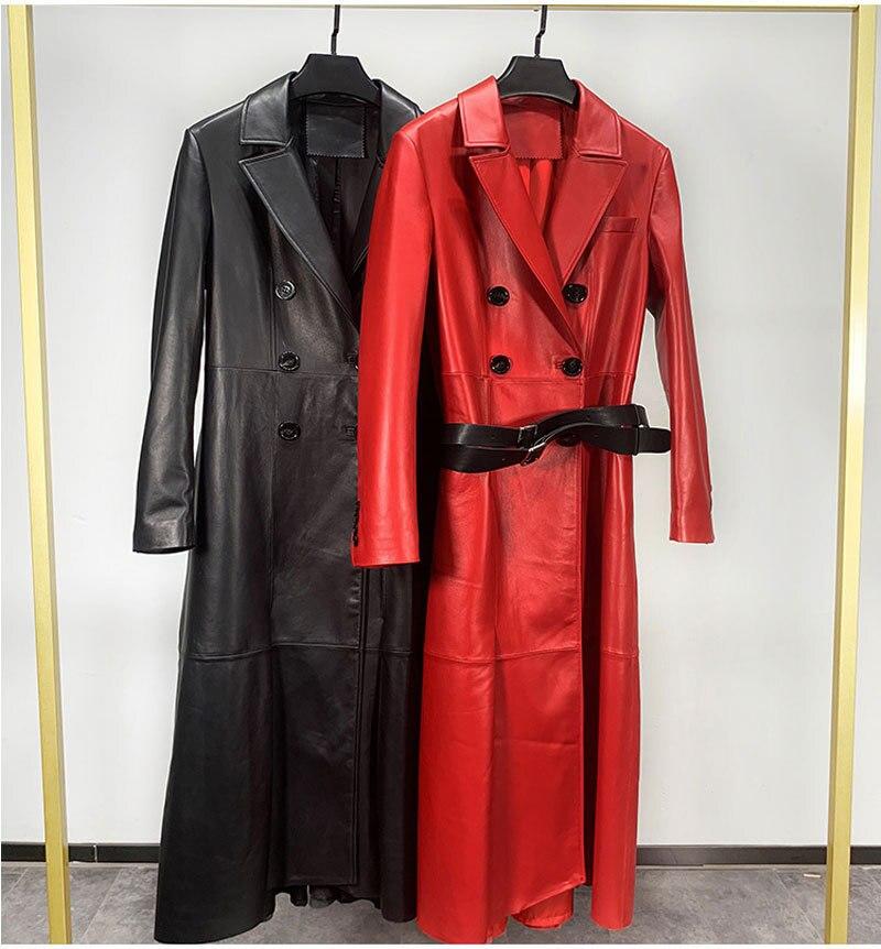 2020 longo jaqueta de couro genuíno feminino