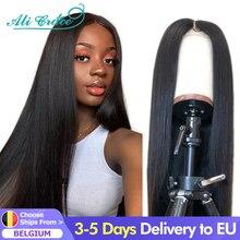 Ali Grace prosto przodu peruki dla kobiet 13x4 koronki przodu włosów ludzkich peruk Natural Color brazylijski prosto T częściowo koronka Frontal peruka