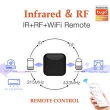 Tuya casa inteligente wifi para ir rf controle remoto suporte aprendizagem rf 433mhz 315mhz infravermelho controle remoto compatível alexa google