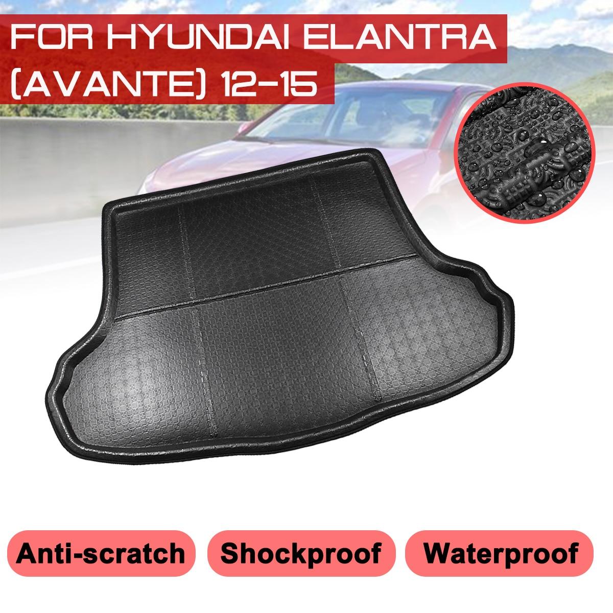 Araba arka bagaj önyükleme Mat Hyundai Elantra Avante 2012 2015 su geçirmez paspaslar halı Anti çamur tepsi kargo astar title=