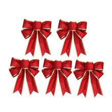 5 шт. тканевая Рождественская лента с бантом, Подарочные Ленточные украшения с узлом для рождественской елки, подарки, красное Новогоднее украшение