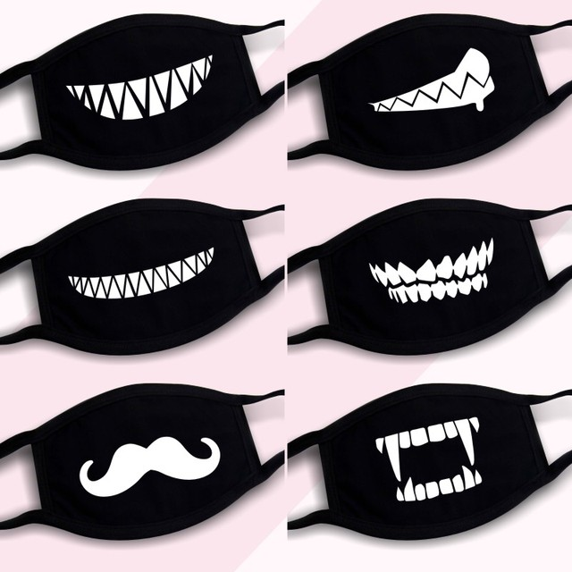 3Pcs/Set Cotton Dust Mask Cartoon Expression Teeth Muffle Chanyeol Face Respirator Anti Kpop Bear Mouth Mask 1