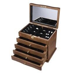 خشب متين والمجوهرات مربع مع قفل العتيقة الخشب الرجعية الأوروبية مجوهرات مربع الزفاف هدية عيد ميلاد