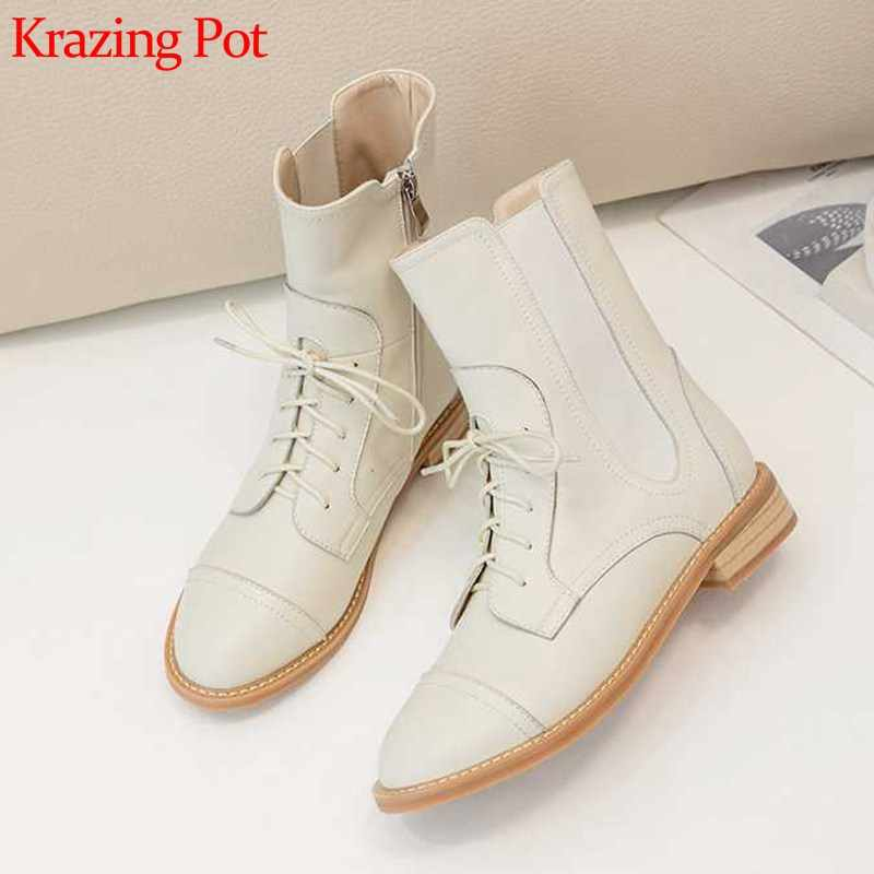 Krazing Pot cow leather fashion concise style basic round toe lace up med heels women winter keep warm solid ankle boots L1f1