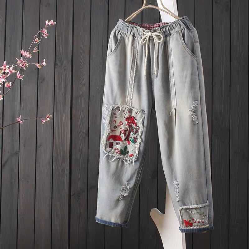 Spring Summer New Arts Style Women Loose Jean Capri Pants Vintage Ripped Jeans Embroidery Patchwork Denim Harem Pants S493