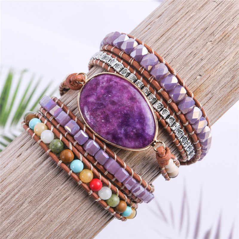 Wrap pulseira de couro natural pedra frisada 5x camadas statement arte pulseira presentes jóias natal transporte da gota