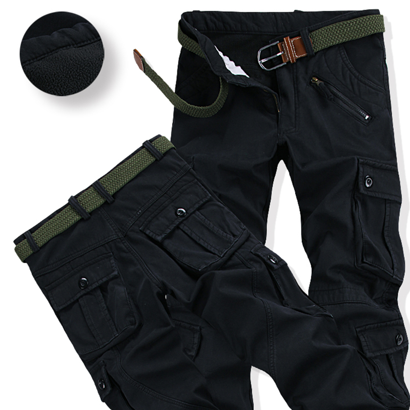 Men's Thick Warm Fleece Winter Pants Fashion Loose Baggy Joger Worker Cargo Pants Casual Pockets Fur Trouser Plus Size 38 4