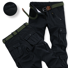 Men's Thick Warm Fleece Winter Pants Fashion Loose Baggy Joger Worker Cargo Pants Casual Pockets Fur Trouser Plus Size 38 4 mens multi pockets thick polar fleece drawstring cargo pants