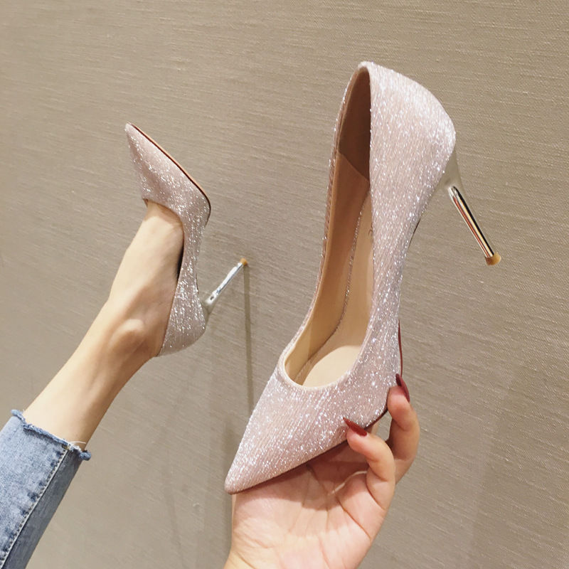 2020 Spring Fashion Women's Shoes Woman High Heels Pointed Toe Glitter Pumps Female Sexy Brides Wedding Shoes Silver Gold Black