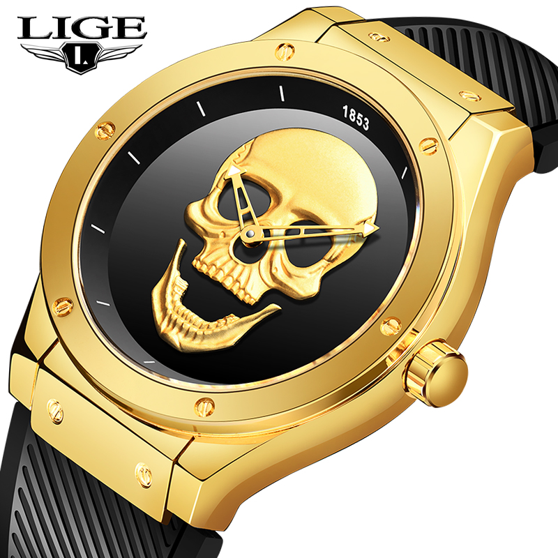 LIGE Mens Watches Top Brand Casual 3D Skull Silicone Waterproof Military Sports Male Quartz Gold Wrist Watch Relogio Masculino