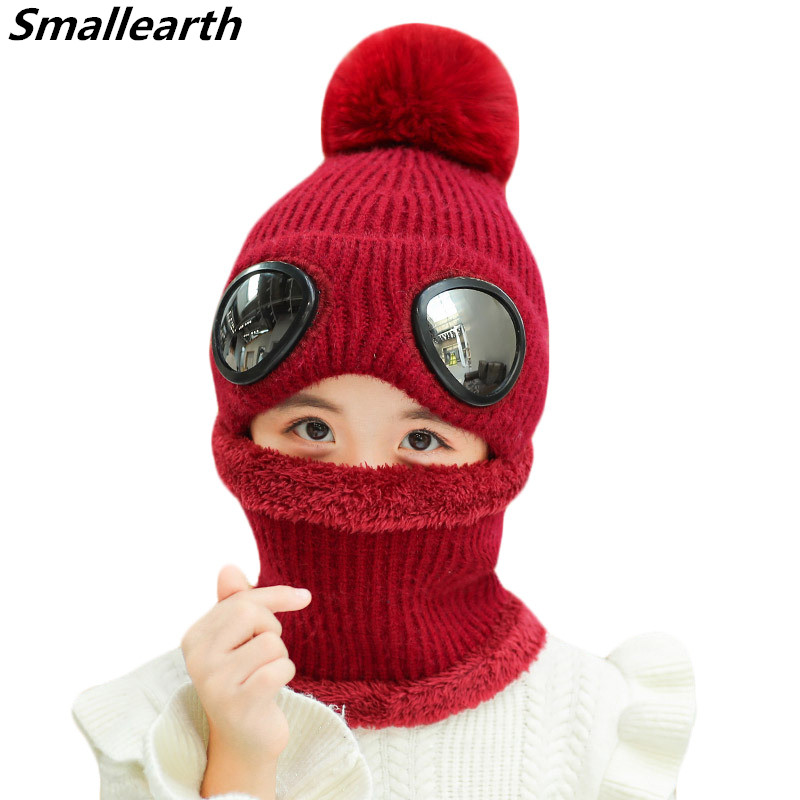 Children Winter Warm Knitted Hat Scarf Set Thickened Wool Hat For Boys Girls Outdoor Scarf Hat Sets Cotton Kids Baby Accessories