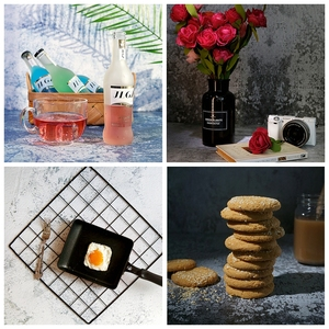 Desktop Photography Background Paper Double-sided Different Style Wood Grain Cement Marble Texture Backdrop Paper for Food Drink