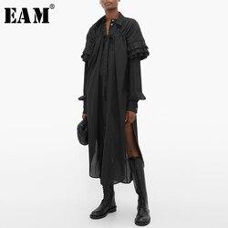 [EAM] Women Black Pleated Asymmetrical Big Size Shirt Dress New Lapel Long Sleeve Loose Fit Fashion Spring Autumn 2020 1S396