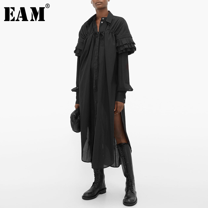 [EAM] Women Black Pleated Asymmetrical Big Size Shirt Dress New Lapel Long Sleeve Loose Fit Fashion Spring Autumn 2020 1S396