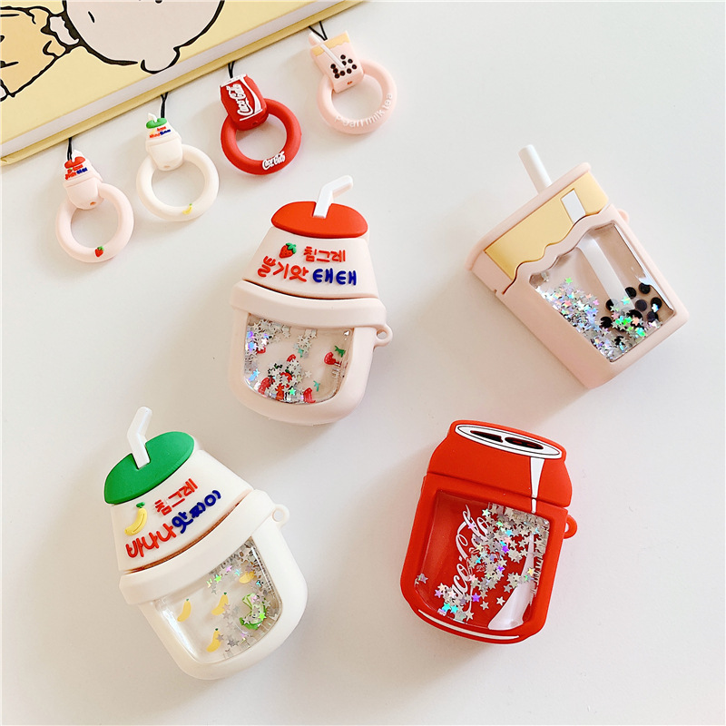 Creative Cartoon Liquid Sequins Milk Tea Cola Silicone Cases Keychain For AirPods Wireless Earphone Bluetooth Protective Cover