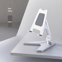 360 ° supporto da tavolo grigio argento antiscivolo pieghevole a doppio albero in lega di alluminio ABS supporto per telefono cellulare accessori per telefoni cellulari