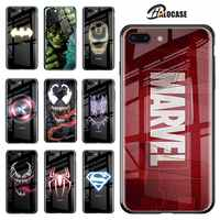 Luxury Marvel Luminous Tempered Glass Case For iPhone XS 11 Pro MAX XR 8 7 6 6s Plus X Samsung S8 S9 S10 S20 Plus Note8 9 10 Pro
