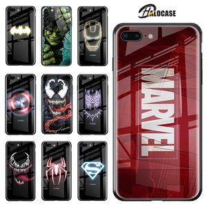 Luxury Marvel Luminous Tempered Glass Case For iPhone XS 11 Pro MAX XR 8 7 6 6s Plus X Samsung S8 S9 S10 S20 Plus Note8 9 10 Pro(China)
