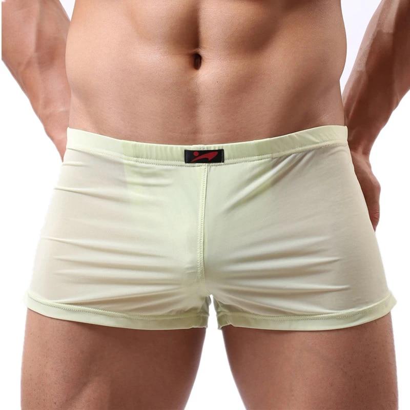 Men/'s Ice soie Boxer Brief Sous-vêtements sans couture respirant caleçons slips 3XL