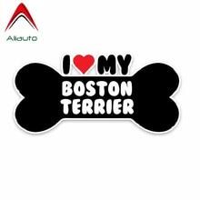 Aliauto yaratıcı araba Sticker I kalp benim Boston Terrier köpek kemik PVC yansıtıcı güneş koruyucu su geçirmez dekorasyon çıkartmaları, 15cm * 7cm