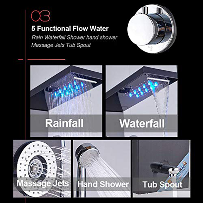 Newly-Luxury-Black-Brushed-Bathroom-Shower-Faucet-LED-Shower-Panel-Column-Bathtub-Mixer-Tap-With-Hand (2)