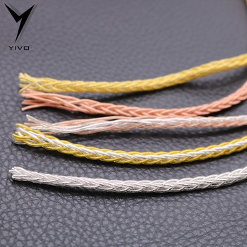 HIFI OFC Plated Silver Gold Soft 3.8mm Diameter Headphone Earphone Extension Audio Wire Cord Aux Cable No Plug for Phone Car MP3