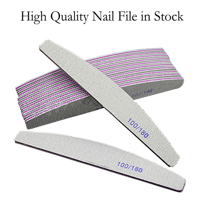 Nail File Double Side Buffer 100/180 Trimmer Sandpaper Professional Nail Files Sanding Block Pedicure Manicure Polishing Tools 6
