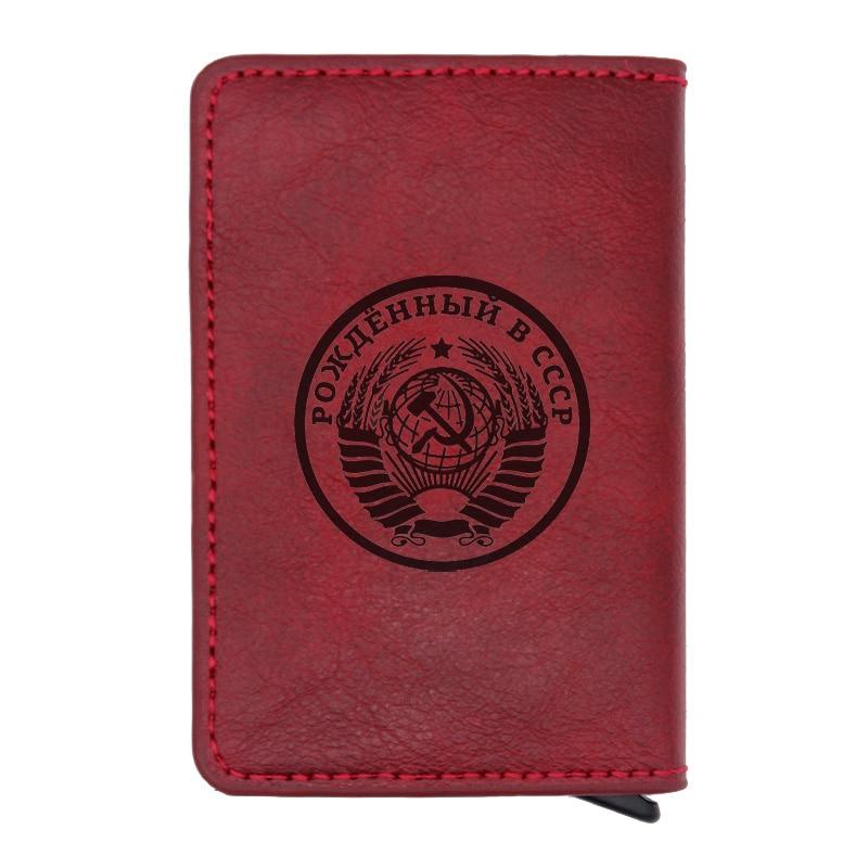Classic USSR Soviet Badges Sickle Hammer Leather Wallet Vintage Men Women CCCP Russia Emblem Communism  Rfid Card Purse