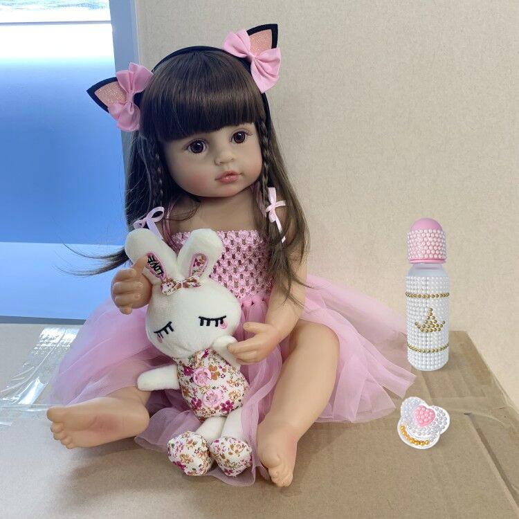 Reborn-Muñeca original de bebé de tamaño real de silicona, muñeca de bebe de tamaño real de 55 cm, con vestido de princesa rosa y un juguete de baño muy suave