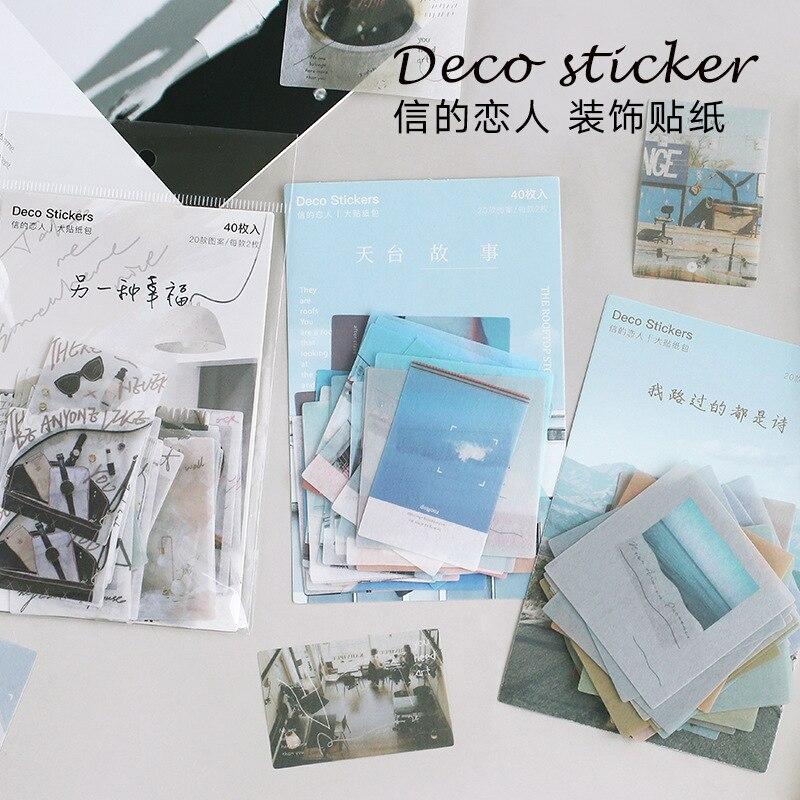 40pcs/lot Vintage Summer Story Stationery Stickers Set Decorative Label Sticker For Scrapbooking Cra
