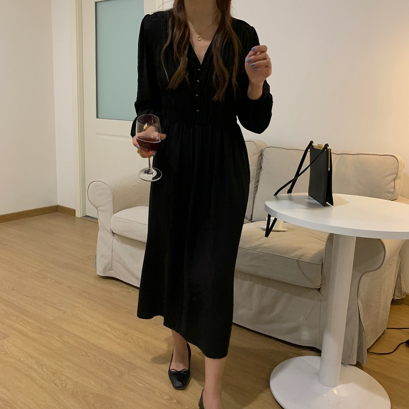 Hd278342816ca4c418d5d2e3338249ef02 - Autumn V-neck Long Sleeves Pleated Waist-Controlled Solid Loose Dress
