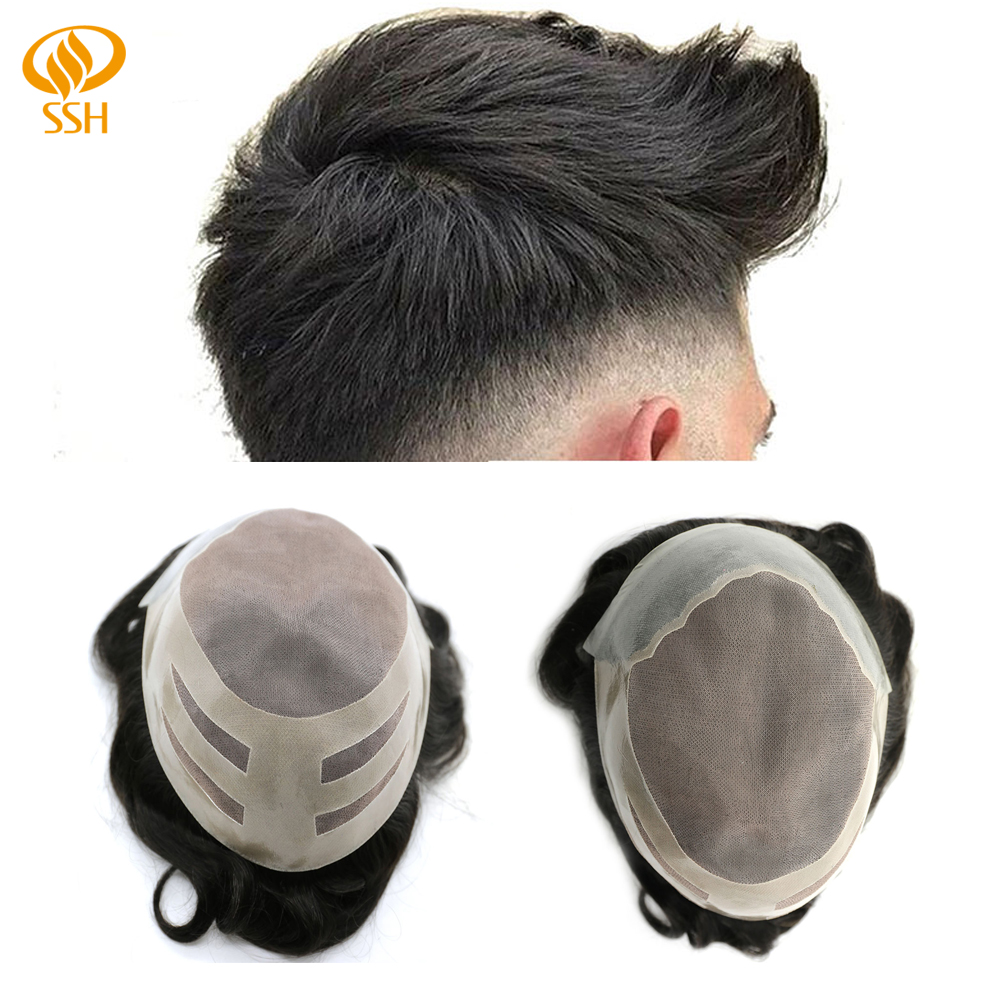 SSH Remy Human Hair Men's Hairpieces Fine Mono Hair Replacement Skin Men's Toupee PU Systems