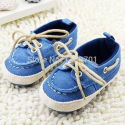 2018 г. Новая детская обувь для маленьких мальчиков и девочек с мягкой подошвой, обувь со шнуровкой, кроссовки для малышей, джинсовая синяя