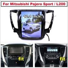 Araba Android için Mitsubishi Pajero spor 2 L200 Triton 2015 ~ 2021 Tesla tarzı ekran Stereo Carplay GPS navigasyon haritası multimedya