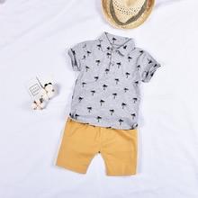 Стиль; детская одежда с принтом кокосовых деревьев; детская одежда с короткими рукавами; футболка с отворотом; летний комплект с шортами для малышей