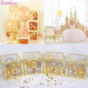 Staraise przezroczyste pudełko dla dzieci DIY balony pierwsze 1. Balony urodzinowe 1 rok szczęśliwy na urodziny i bociankowe zaopatrzenie firm
