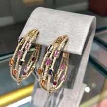 GODKI 2020 Trendy Twist Attraverso Orecchini A Cerchio Dubai Colorato Delle Donne Da Sposa Monili di Cerimonia Nuziale Apertura Orecchino pulseras mujer moda