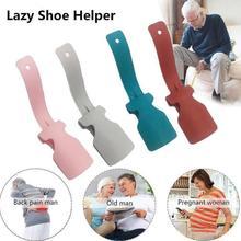 Leniwy pomocnik do butów Unisex obsługiwane łyżka do butów łatwe zakładanie i zdejmowanie łatwe noszenie butów podnoszenie butów buty do butów Spooner Lifter Gardget Tools tanie tanio Shoe horn
