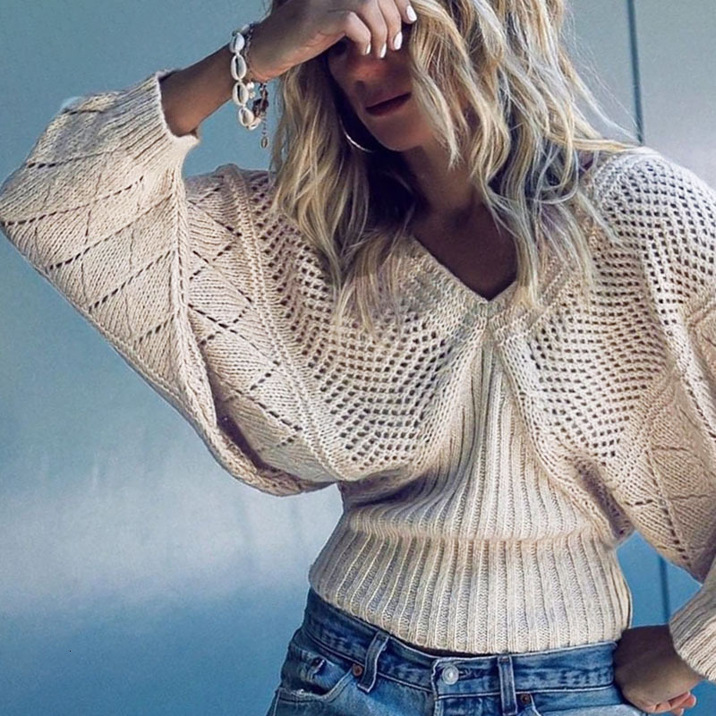 Knitting Hollow Out High Waist Woman Sweater Pullover Bat Sleeve V Neck Sexy Spring Autumn Apricot Jumper Pull Femme Hiver