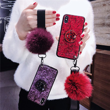 Luxury hair ball pendant phone case for iPhone X XS XR XSMax 8 7 6 6S PluS full drill stand soft shell drop protection cover