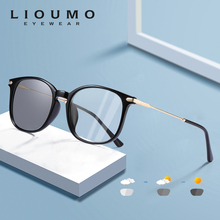 LIOUMO Classic Square Photochromic Glasses Women Men Blue Blocking Light Lenses For Computer Unisex Retro Eyeglasses UV400