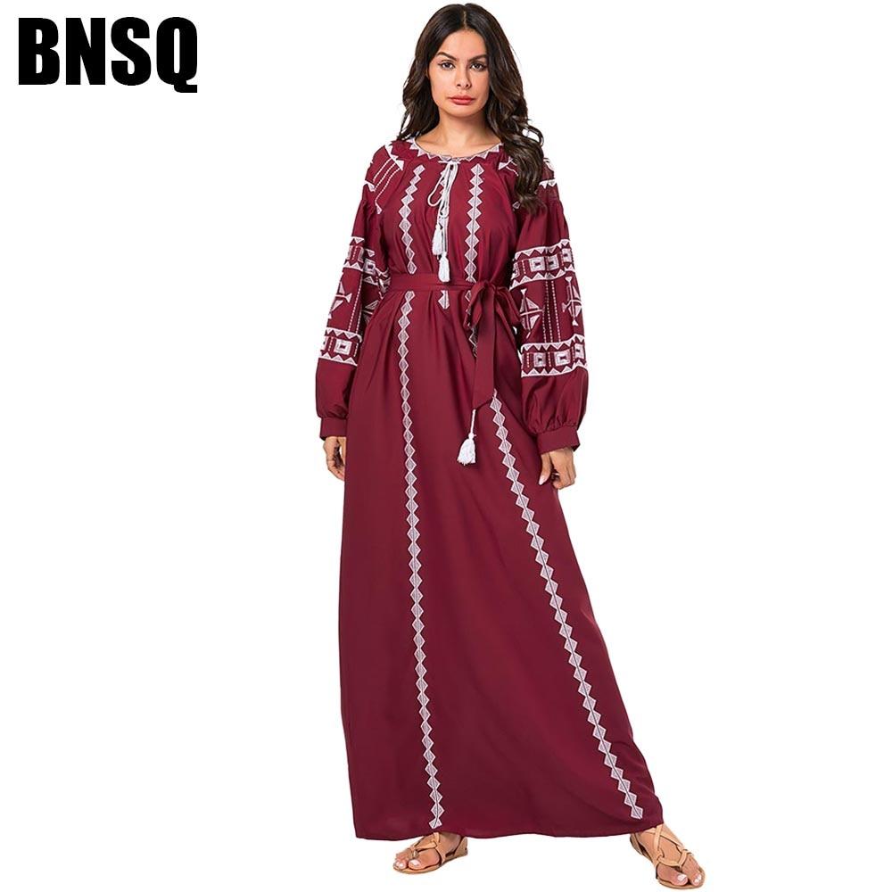 BNSQ Plus Size Maxi Dresses For Women Casual Ethnic Geometric Embroidery Long Dress Orange Wine Red Autumn 2019 Arabian Wears
