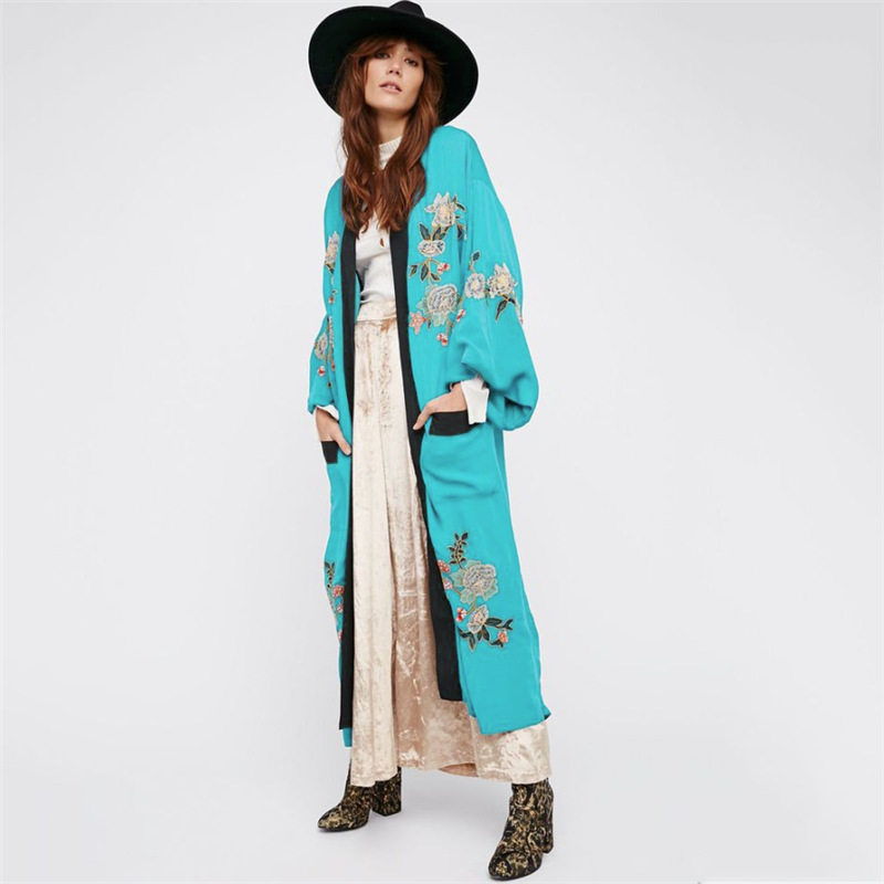 Europe And America New Style Cotton Embroidery Pocket Loose-Fit Cardigan Beach Skirt Holiday Long Skirts Bikini Outer Blouse Sun