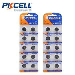 Image 1 - Botão alcalino pkcell, 20 peças/2 cartões 1.5v ag10 389 lr54 sr54 sr1130w 189 SB BU l1130 1130 lr1130 termômetro de moeda celular bateria